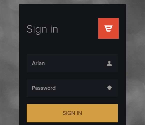 Login form free PSD