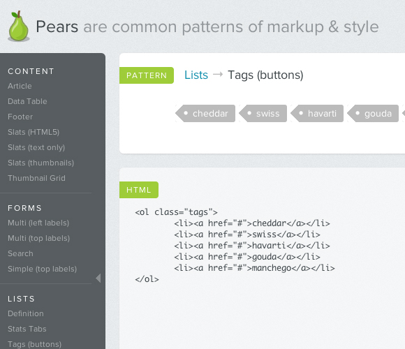 Pears: html and css common patterns