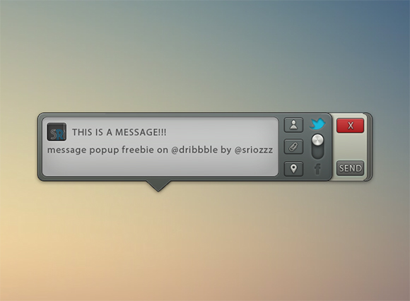 Message popup PSD freebie