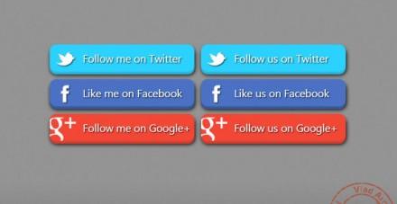 3D Social Buttons free PSD