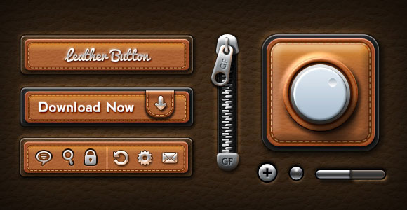 Leather UI kit PSD