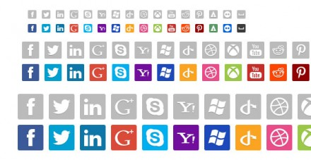 Social Network PSD Icons 16, 32 & 48px