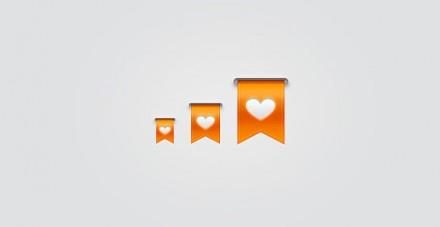 Free PSD orange ribbons