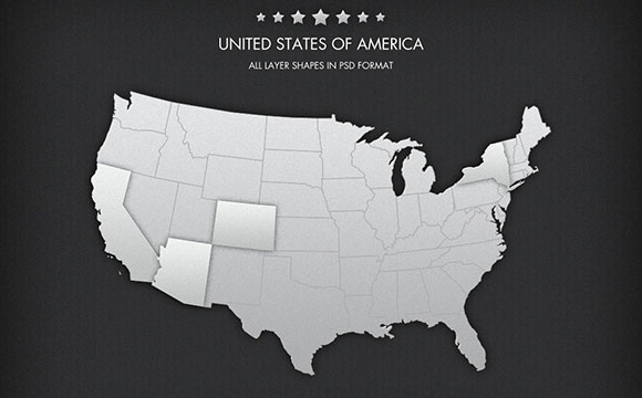 Pixel-perfect free PSD map of the United States