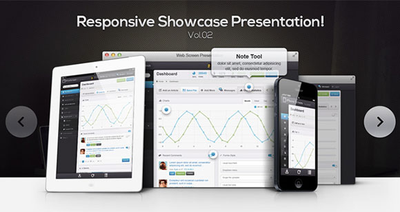 Responsive showcase presentation PSD mockup
