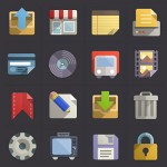 Flat design icons set PSD