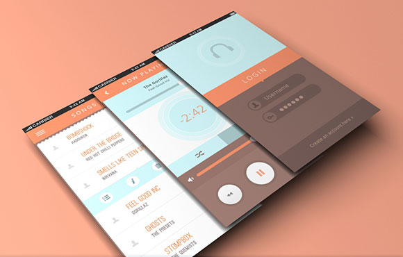 Music app for mobiles PSD
