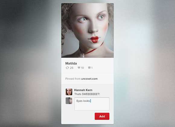 Pinterest pin widget PSD