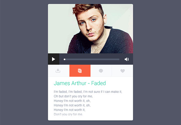 Music widget with lyrics PSD