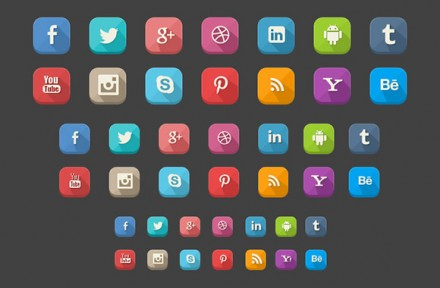42 Long shadow social icons