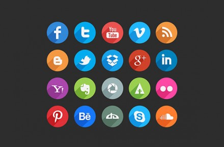 45 long shadow social icons