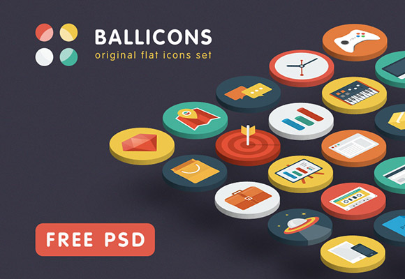 Ballicons - 15 free PSD icons