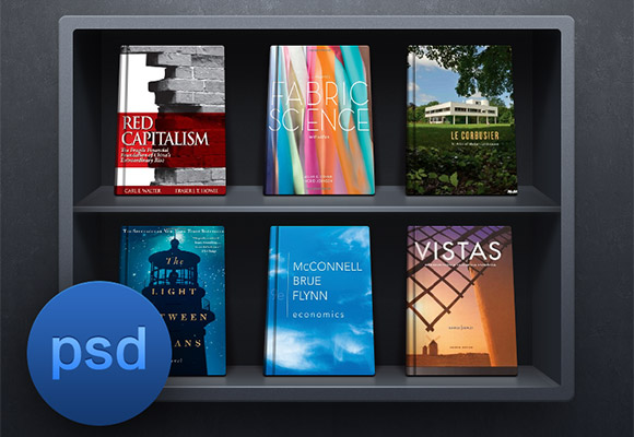 Dark bookshelf PSD
