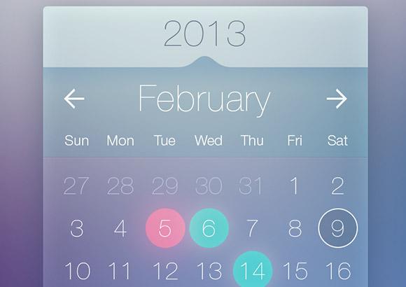 Calendar Web Widget : Transparent calendar widget psd ipixel creative