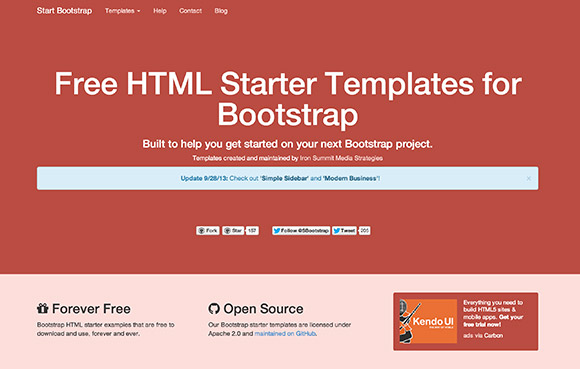 Start Bootstrap – Starter HTML templates