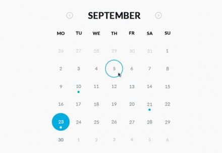 Round calendar - PSD + HTML