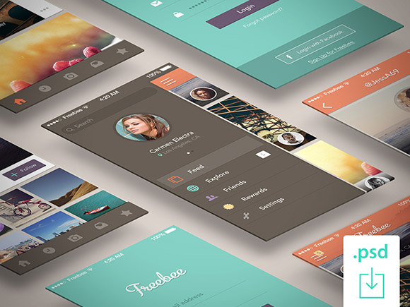 Freebee - Free PSD app concept
