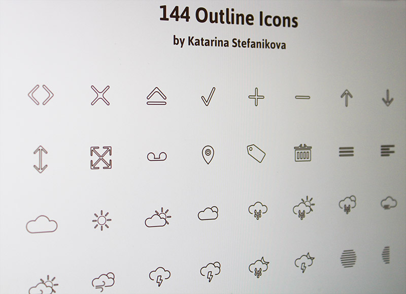 144 outline icons PSD + AI
