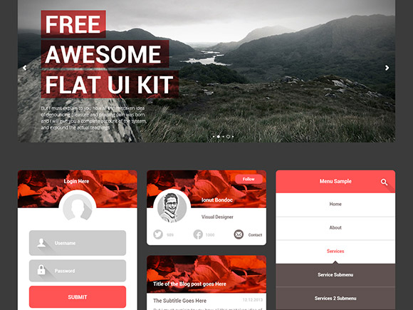 Free Awesome Flat UI Kit PSD