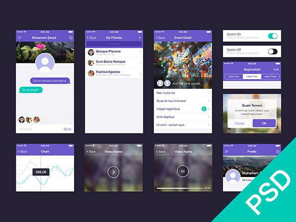 Ui set for app design psd freebiesbug for Facebook app template psd