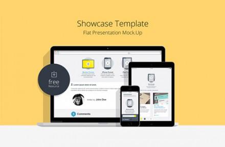 Flat responsive showcase mockups