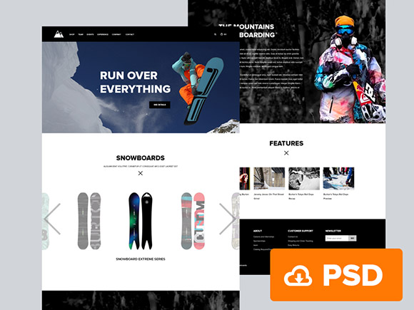 Snowboarding - PSD website template