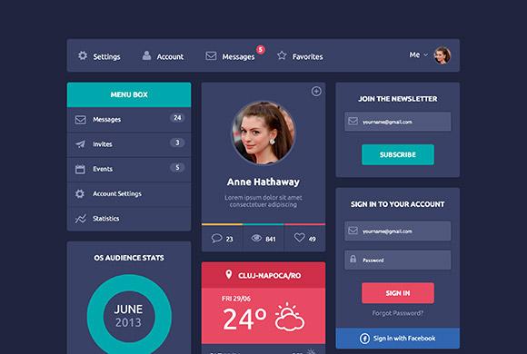 Flat design UI - HTML5 + CSS3