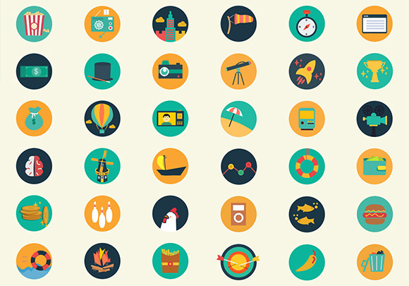 Meroo Icons - 110 flat coloured PSD icons