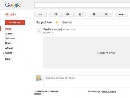 Gmail UI PSD template