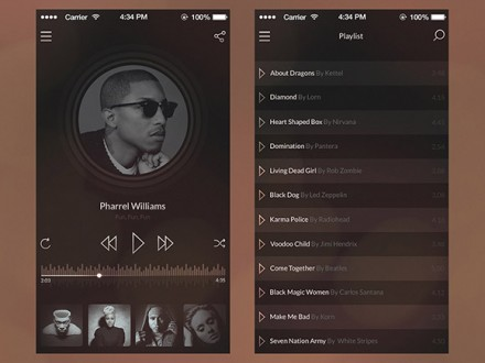 iOS7 vintage music player PSD