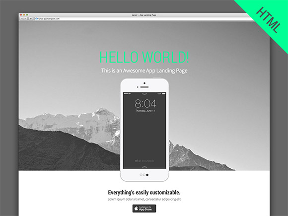 landy html5 parallax app landing page freebiesbug. Black Bedroom Furniture Sets. Home Design Ideas