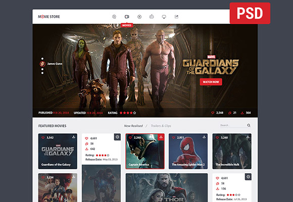 Movie store - PSD template