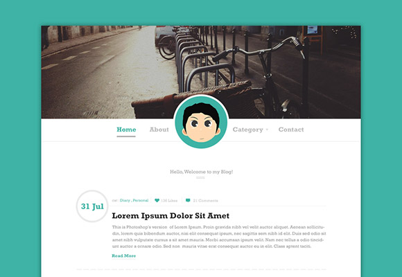 Simple blog PSD template