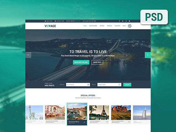 Voyage - Free travel PSD template