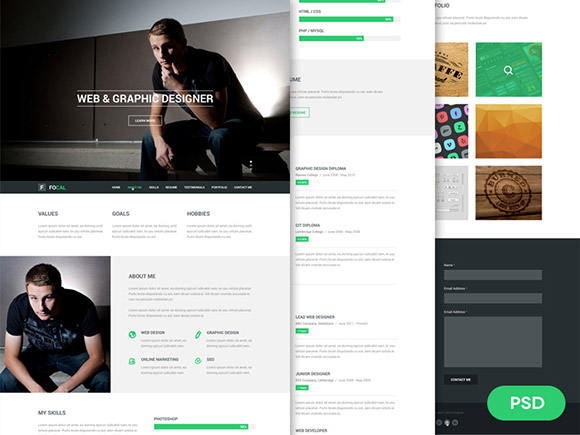Focal resume PSD template