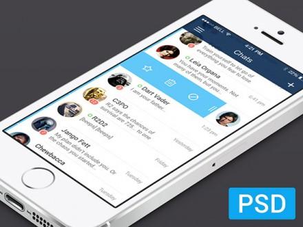 iOS7 messenger app PSD