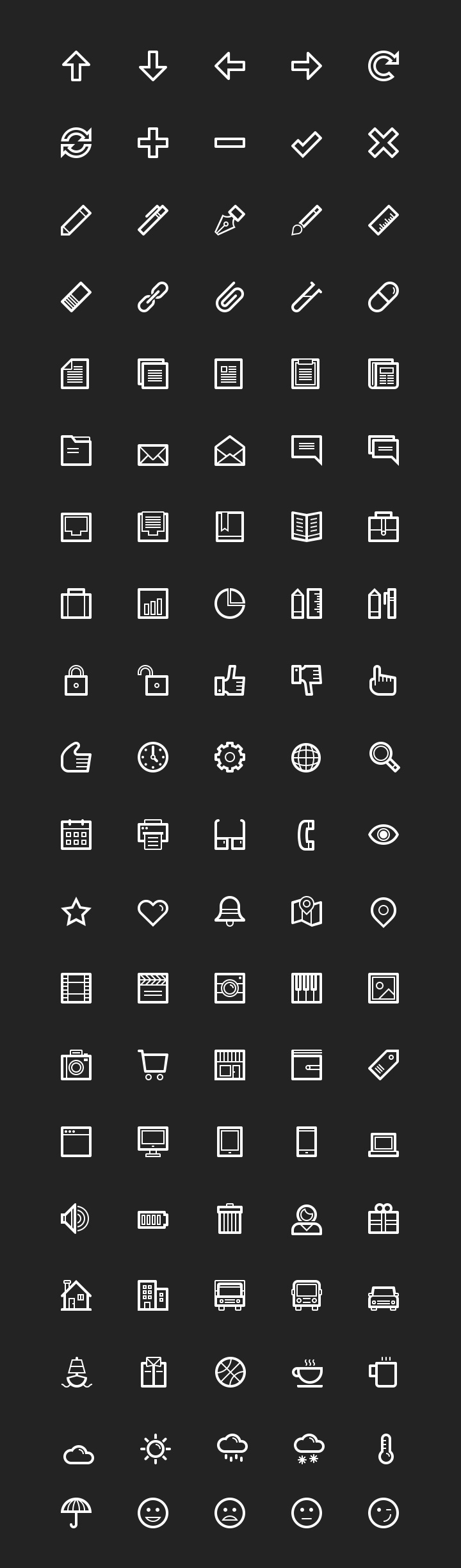 LineArt - 100 essential line icons detailed view