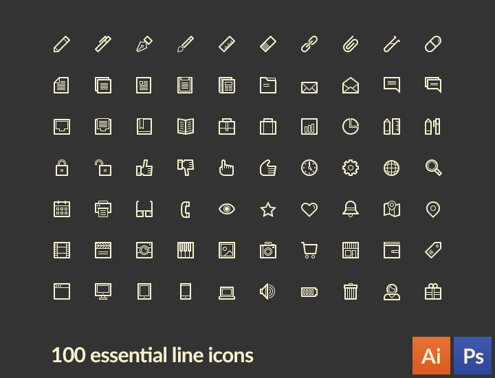 LineArt - 100 essential line icons free PSD