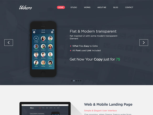 Uihero - Free PSD website template