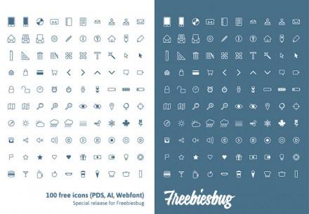 100 free icons PSD + AI + Webfont