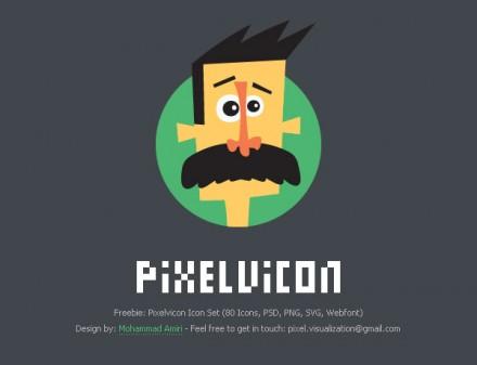 Pixelvicon - 80 free icons + Webfont