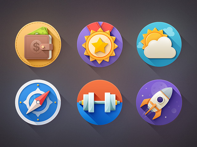 6 flat icons with shadows psd freebiesbug for Freebiesbug