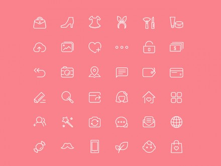 36 chic female icons PSD