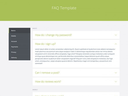 FAQ template - HTML