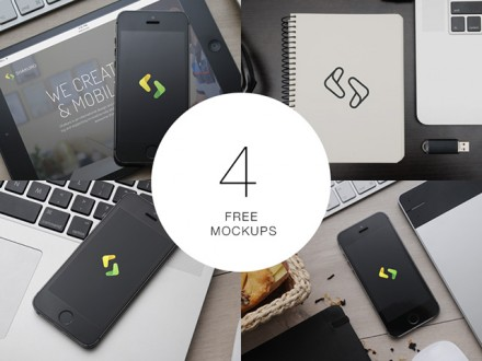 4 free PSD Apple mockups