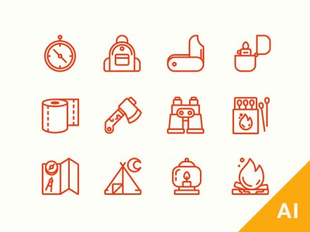 12 free camping icons