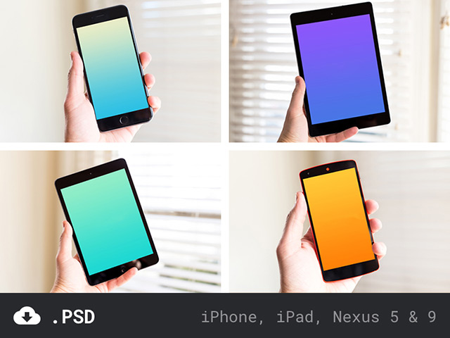 iPhone, iPad & Nexus mockups