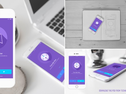 iOS app showcase mockups - Free PSD