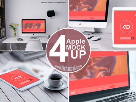 4 Apple devices mockups