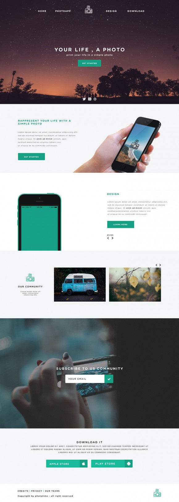 Phototime - PSD website template Full view